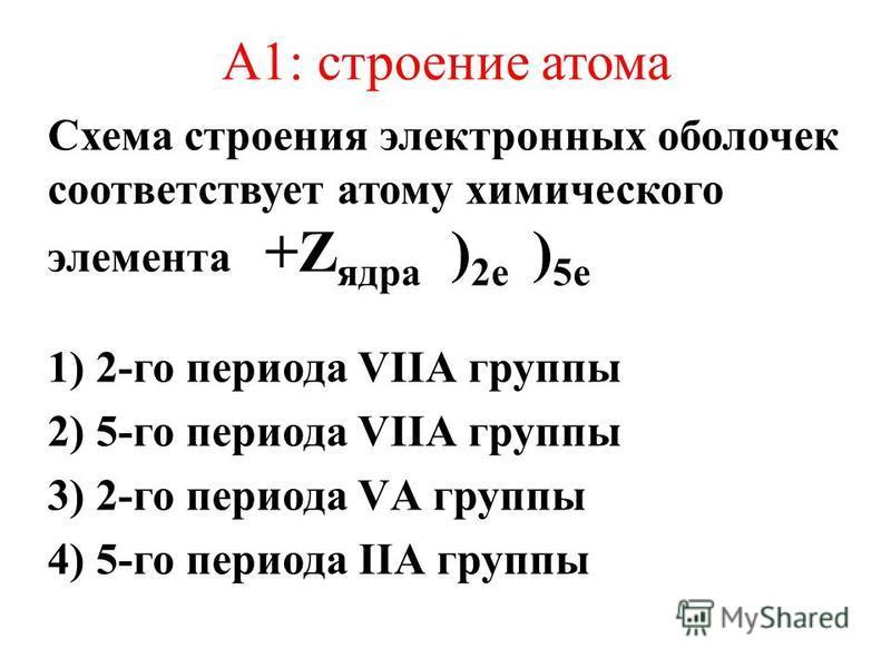 А1: строение атома Схема строения электронных оболочек соответствует атому химического элемента +Z ядра ) 2 е ) 5 е 1) 2-го периода VIIА группы 2) 5-го периода VIIА группы 3) 2-го периода VА группы 4) 5-го периода IIА группы