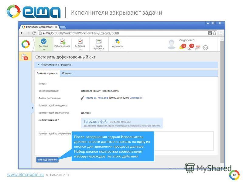Исполнители закрывают задачи 10 www.elma-bpm.ru © ELMA 2006-2014 После завершения задачи Исполнитель должен внести данные и нажать на одну из кнопок для движения процесса дальше. Набор кнопок полностью соответствует набору переходов из этого действия
