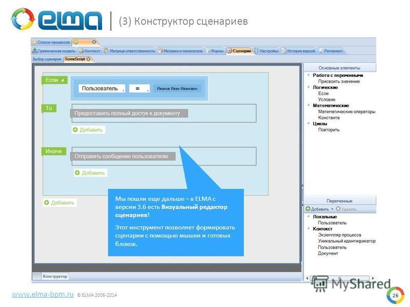 26 www.elma-bpm.ru © ELMA 2006-2014 (3) Конструктор сценариев Мы пошли еще дальше – в ELMA с версии 3.6 есть Визуальный редактор сценариев! Этот инструмент позволяет формировать сценарии с помощью мышки и готовых блоков.