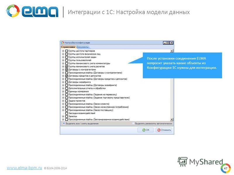 47 Интеграции с 1С: Настройка модели данных www.elma-bpm.ru © ELMA 2006-2014 После установки соединения ELMA попросит указать какие объекты из Конфигурации 1С нужны для интеграции.
