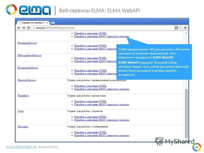 60 Веб-сервисы ELMA: ELMA WebAPI www.elma-bpm.ru © ELMA 2006-2014 ELMA предоставляет API для доступа к объектам системы из внешних приложений. Этот компонент называется ELMA WebAPI. ELMA WebAPI содержит большой набор методов. Кроме того, набор доступ