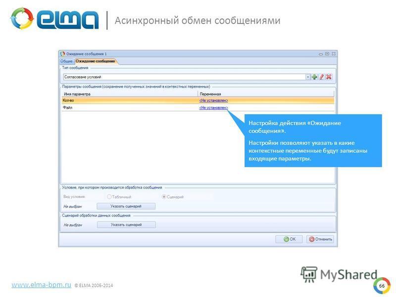 66 www.elma-bpm.ru © ELMA 2006-2014 Асинхронный обмен сообщениями Настройка действия «Ожидание сообщения». Настройки позволяют указать в какие контекстные переменные будут записаны входящие параметры.
