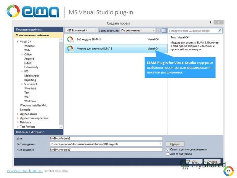 73 www.elma-bpm.ru © ELMA 2006-2014 MS Visual Studio plug-in ELMA Plugin for Visual Studio содержит шаблоны проектов для формирования пакетов расширения.