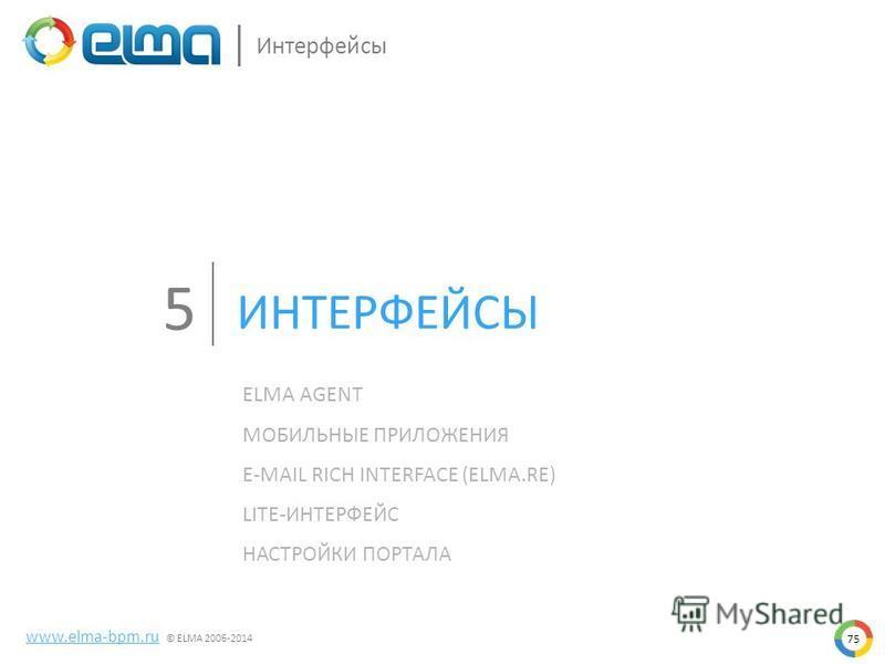 75 www.elma-bpm.ru © ELMA 2006-2014 Интерфейсы ELMA AGENT МОБИЛЬНЫЕ ПРИЛОЖЕНИЯ E-MAIL RICH INTERFACE (ELMA.RE) LITE-ИНТЕРФЕЙС НАСТРОЙКИ ПОРТАЛА ИНТЕРФЕЙСЫ 5