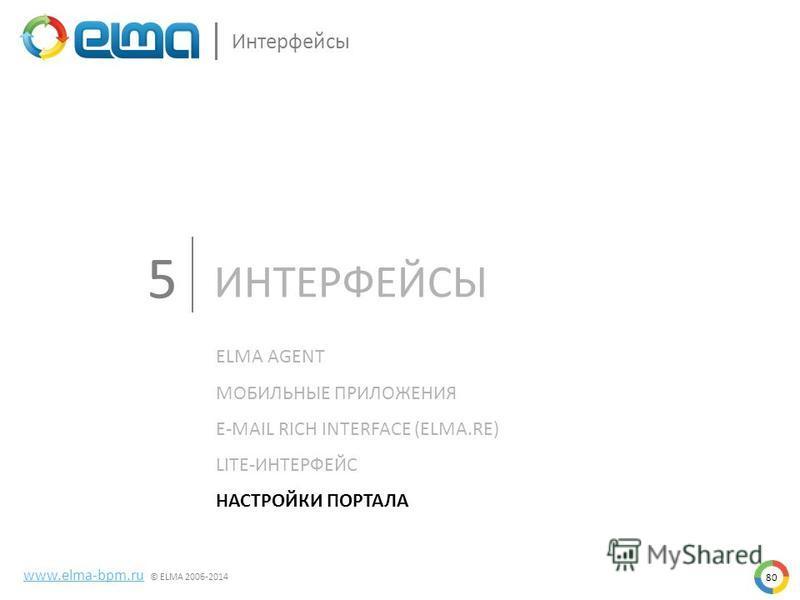 80 www.elma-bpm.ru © ELMA 2006-2014 Интерфейсы ИНТЕРФЕЙСЫ ELMA AGENT МОБИЛЬНЫЕ ПРИЛОЖЕНИЯ E-MAIL RICH INTERFACE (ELMA.RE) LITE-ИНТЕРФЕЙС НАСТРОЙКИ ПОРТАЛА 5