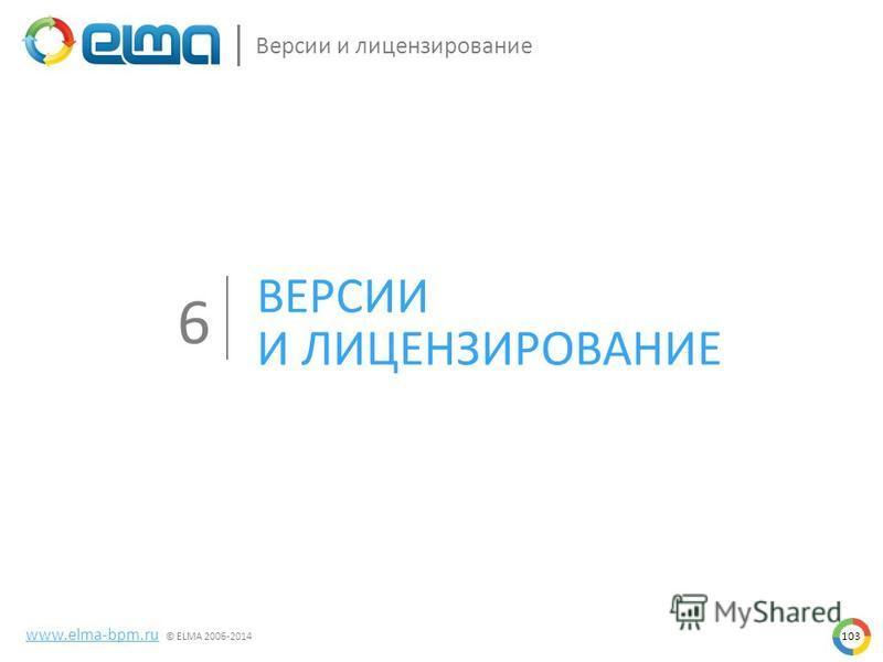 www.elma-bpm.ru © ELMA 2006-2014 Версии и лицензирование ВЕРСИИ И ЛИЦЕНЗИРОВАНИЕ 6 103
