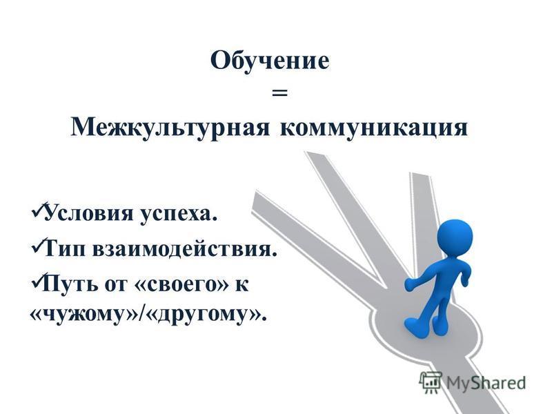 Обучение = Межкультурная коммуникация Условия успеха. Тип взаимодействия. Путь от «своего» к «чужому»/«другому».