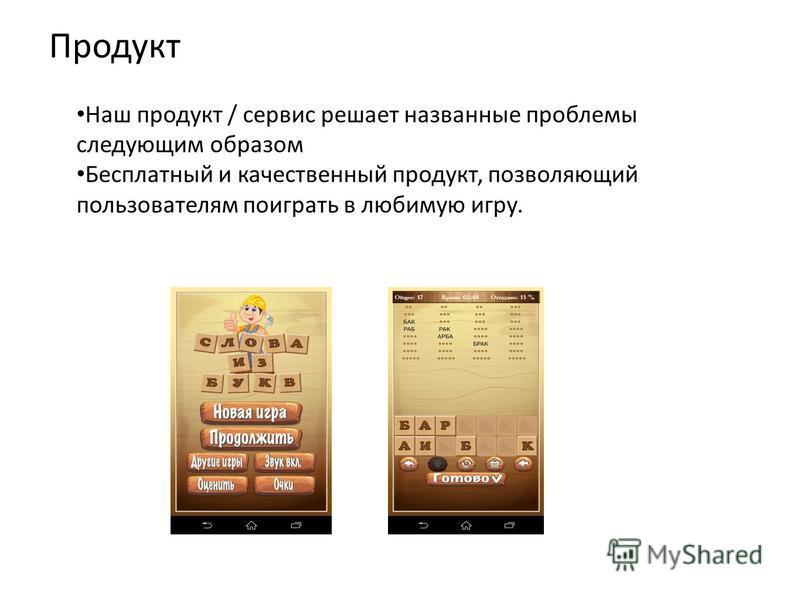 Продукт Наш продукт / сервис решает названные проблемы следующим образом Бесплатный и качественный продукт, позволяющий пользователям поиграть в любимую игру.