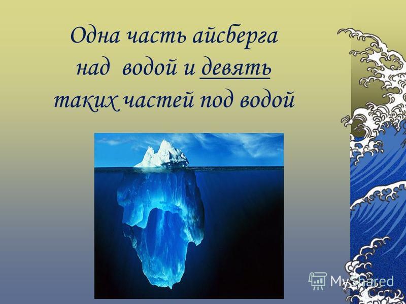 Одна часть айсберга над водой и девять таких частей под водой