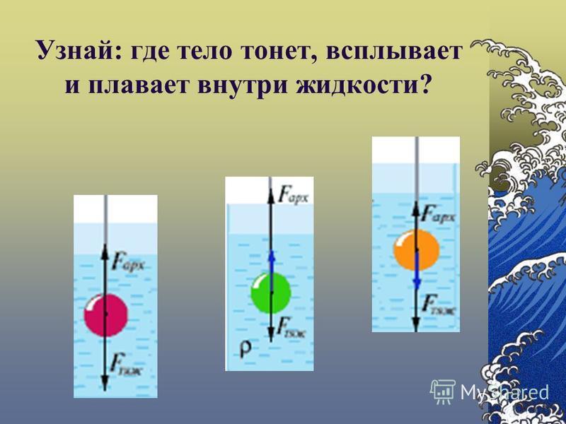 Узнай: где тело тонет, всплывает и плавает внутри жидкости?