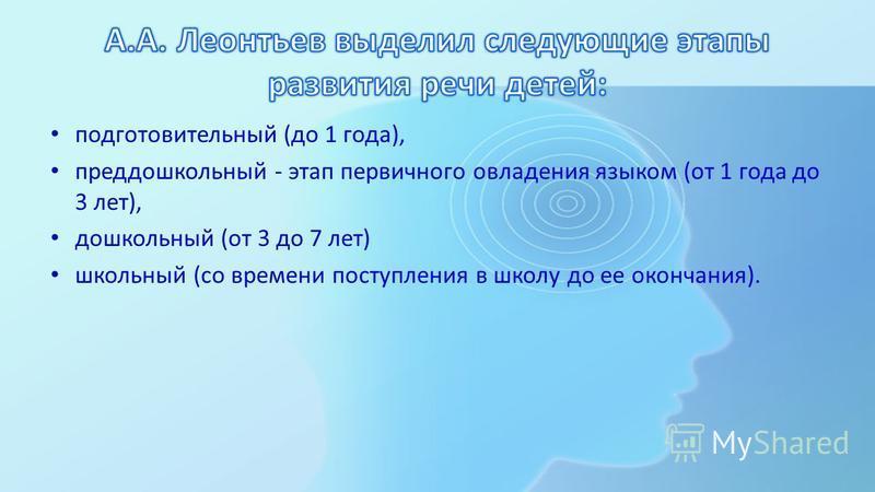 подготовительный (до 1 года), преддошкольный - этап первичного овладения языком (от 1 года до 3 лет), дошкольный (от 3 до 7 лет) школьный (со времени поступления в школу до ее окончания).