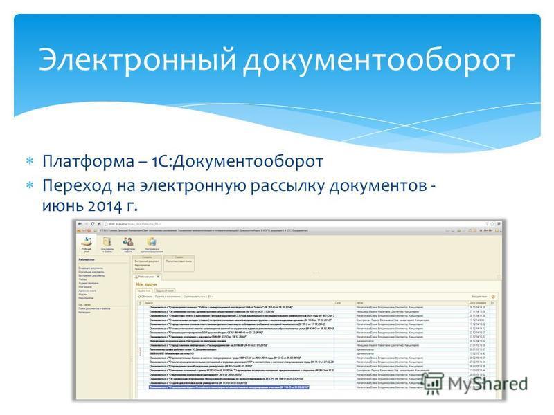 Платформа – 1С:Документооборот Переход на электронную рассылку документов - июнь 2014 г. Электронный документооборот