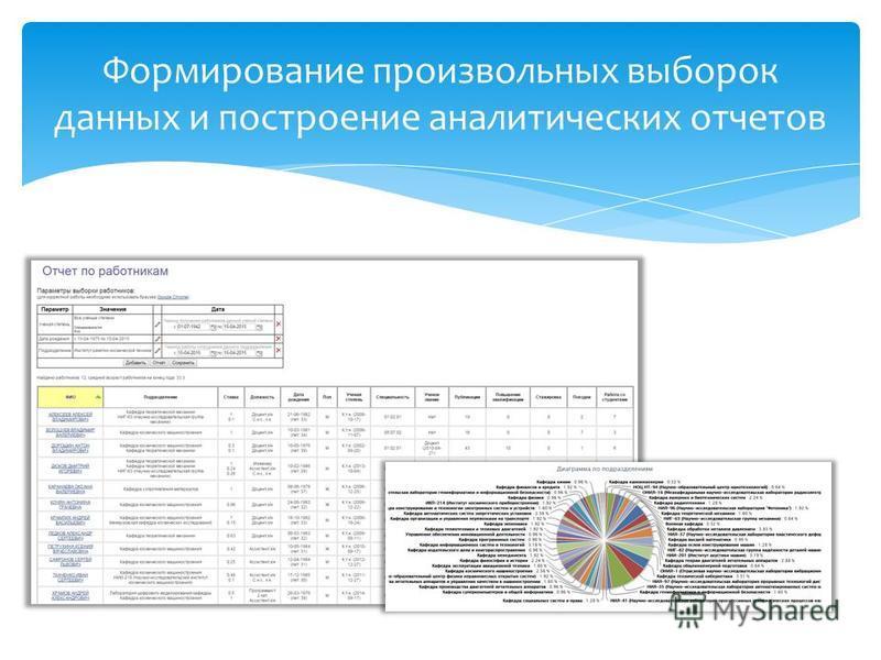 Формирование произвольных выборок данных и построение аналитических отчетов
