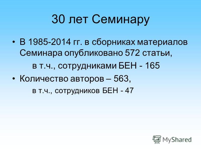30 лет Семинару В 1985-2014 гг. в сборниках материалов Семинара опубликовано 572 статьи, в т.ч., сотрудниками БЕН - 165 Количество авторов – 563, в т.ч., сотрудников БЕН - 47