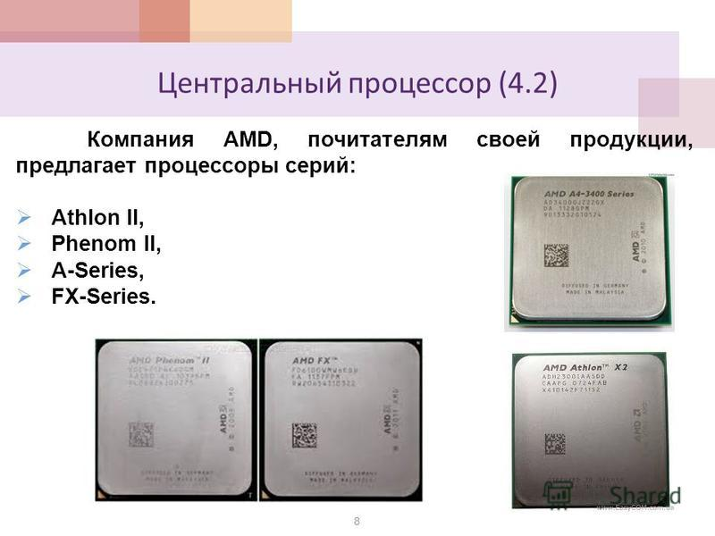 Центральный процессор (4.2) 8 Компания AMD, почитателям своей продукции, предлагает процессоры серий: Athlon II, Phenom II, A-Series, FX-Series.