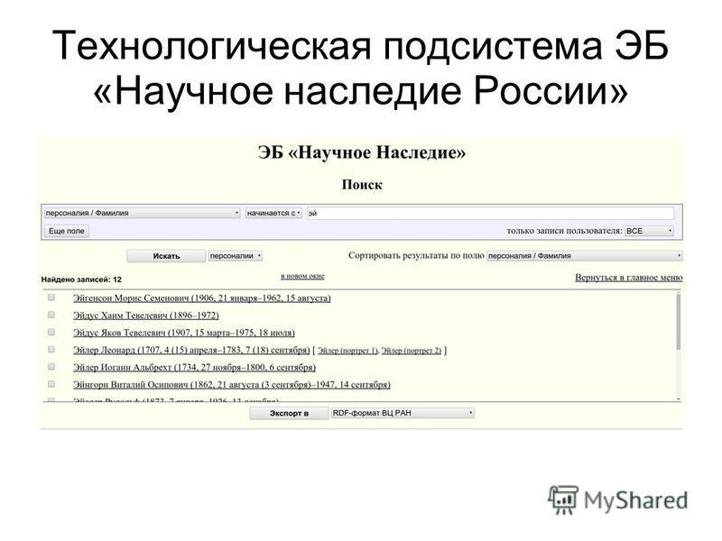 Технологическая подсистема ЭБ «Научное наследие России»