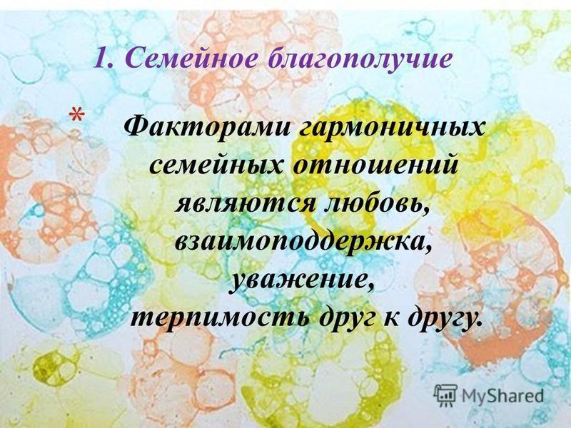 * Факторами гармоничных семейных отношений являются любовь, взаимоподдержка, уважение, терпимость друг к другу. 1. Семейное благополучие