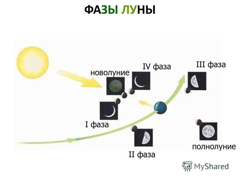 ФАЗЫ ЛУНЫ I фаза II фаза полнолуние III фаза IV фаза новолуние Фазы луны. I фаза. II фаза. Полнолуние. III фаза. IV фаза. Новолуние.