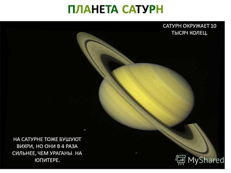 ПЛАНЕТА САТУРН САТУРН ОКРУЖАЕТ 10 ТЫСЯЧ КОЛЕЦ. НА САТУРНЕ ТОЖЕ БУШУЮТ ВИХРИ, НО ОНИ В 4 РАЗА СИЛЬНЕЕ, ЧЕМ УРАГАНЫ НА ЮПИТЕРЕ. Планета сатурн. Сатурн окружает 10 тысяч колец. На сатурне тоже бушуют вихри, но они в 4 раза сильнее, чем ураганы на юпитер