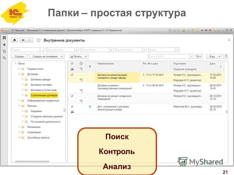 Папки – простая структура 21 Поиск Контроль Анализ
