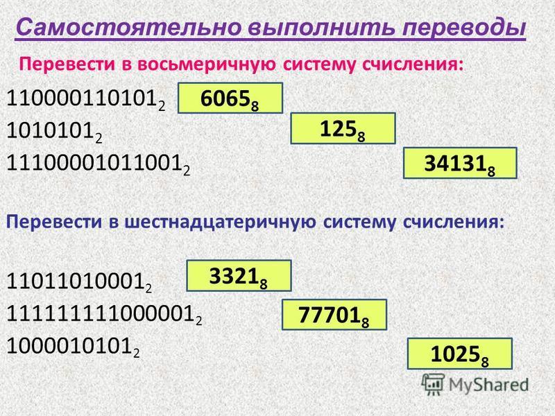 Перевести в восьмеричную систему счисления: 110000110101 2 1010101 2 11100001011001 2 Перевести в шестнадцатеричную систему счисления: 11011010001 2 111111111000001 2 1000010101 2 Самостоятельно выполнить переводы 6065 8 125 8 34131 8 3321 8 77701 8