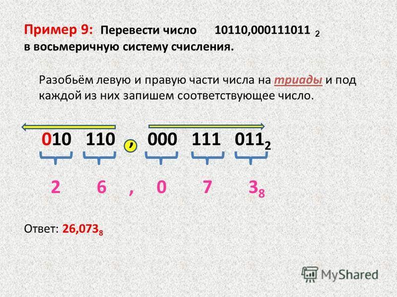Пример 9: Перевести число 10110,000111011 2 в восьмеричную систему счисления. Разобьём левую и правую части числа на триады и под каждой из них запишем соответствующее число. 010 110, 000 111 011 2 2 6, 0 7 3 8 Ответ: 26,073 8