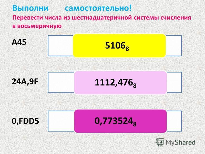 Выполни самостоятельно! Перевести числа из шестнадцатеречной системы счисления в восьмеричную А45 24А,9F 0,FDD5 51068 1112,4768 0,7735248