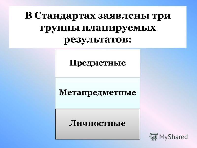В Стандартах заявлены три группы планируемых результатов: Личностные Метапредместные Предместные