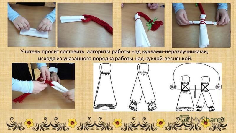 Учитель просит составить алгоритм работы над куклами-неразлучниками, исходя из указанного порядка работы над куклой-веснянкой.