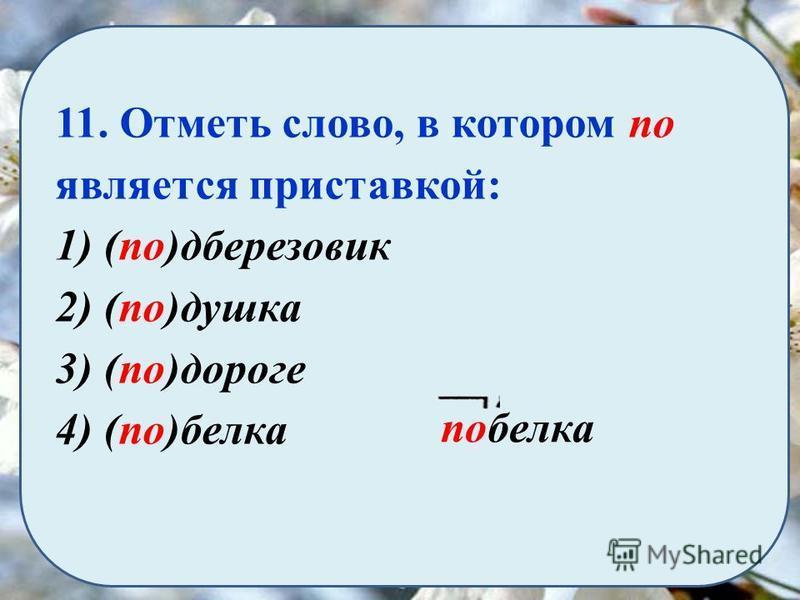 11. Отметь слово, в котором по является приставкой: 1) (по)дберезовик 2) (по)душка 3) (по)дороге 4) (по)белка побелка