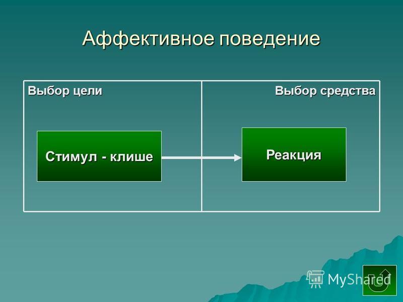 Аффективное поведение Стимул - клише Реакция Выбор цели Выбор средства