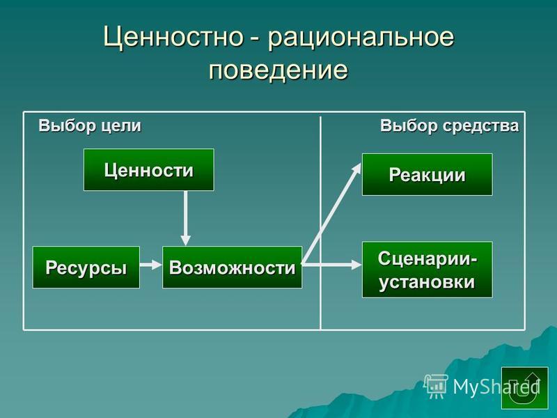 Ценностно - рациональное поведение Ценности Реакции Выбор цели Выбор средства Ресурсы Сценарии-установки Возможности