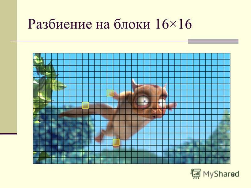 43 Разбиение на блоки 16×16