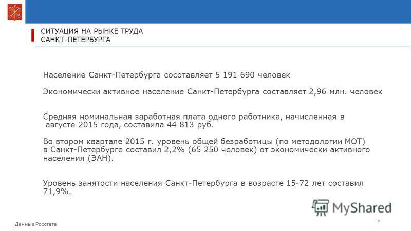СИТУАЦИЯ НА РЫНКЕ ТРУДА САНКТ-ПЕТЕРБУРГА 5 Население Санкт-Петербурга составляет 5 191 690 человек Экономически активное население Санкт-Петербурга составляет 2,96 млн. человек Средняя номинальная заработная плата одного работника, начисленная в авгу