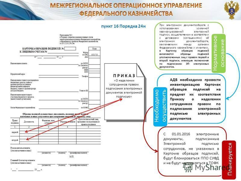 пункт 16 Порядка 24 н П Р И К А З «О наделении сотрудников правом подписания электронных документов электронной подписью» При электронном документообороте с использованием усиленной квалифицированной электронной подписи, осуществляемом в соответствии
