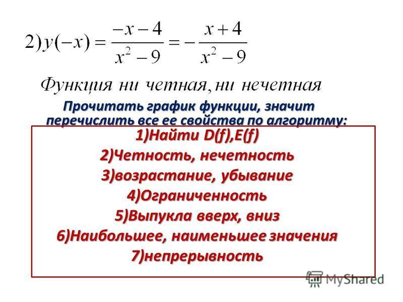 Прочитать график функции, значит перечислить все ее свойства по алгоритму: 1)Найти D(f),E(f) 2)Четность, нечетность 3)возрастание, убывание 4)Ограниченность 5)Выпукла вверх, вниз 6)Наибольшее, наименьшее значения 7)непрерывность