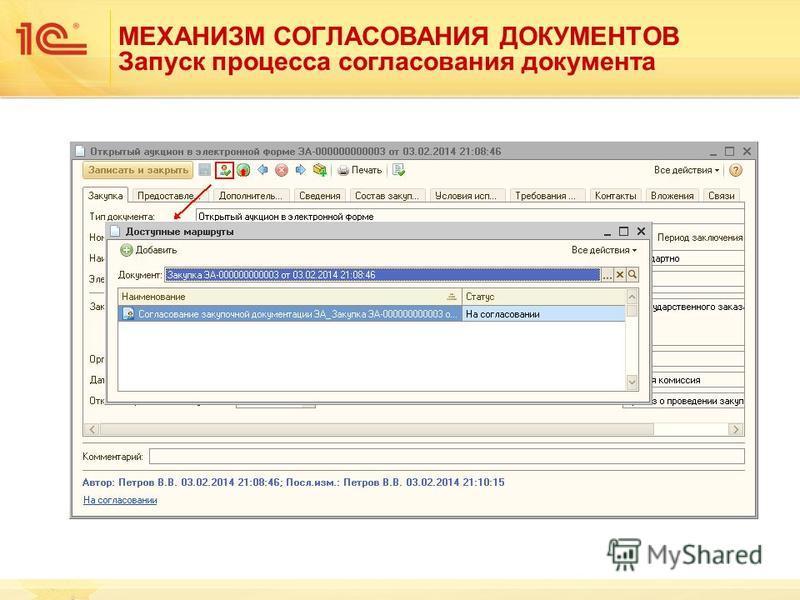МЕХАНИЗМ СОГЛАСОВАНИЯ ДОКУМЕНТОВ Запуск процесса согласования документа