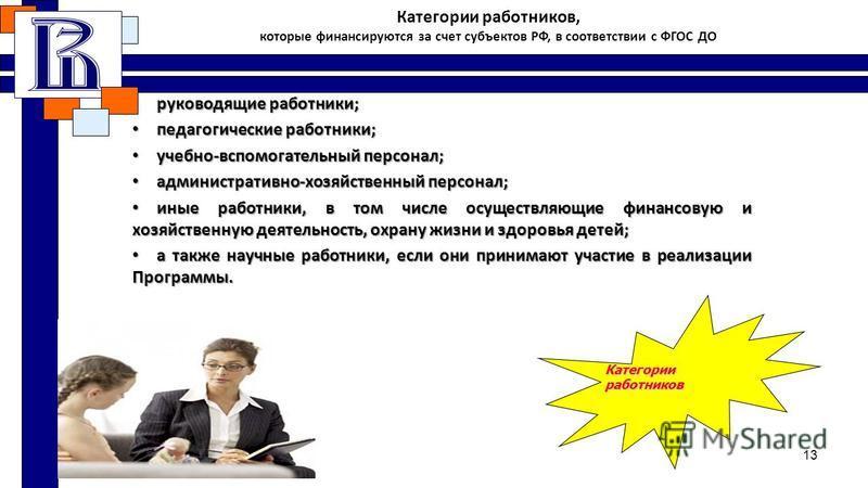 Категории работников, которые финансируются за счет субъектов РФ, в соответствии с ФГОС ДО руководящие работники;руководящие работники; педагогические работники;педагогические работники; учебно-вспомогательный персонал;учебно-вспомогательный персонал