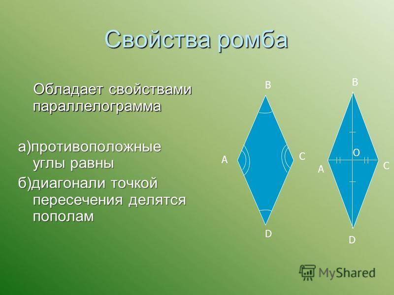 Свойства ромба Обладает свойствами параллелограмма Обладает свойствами параллелограмма а)противоположные углы равны б)диагонали точкой пересечения делятся пополам A B C D A B C D O