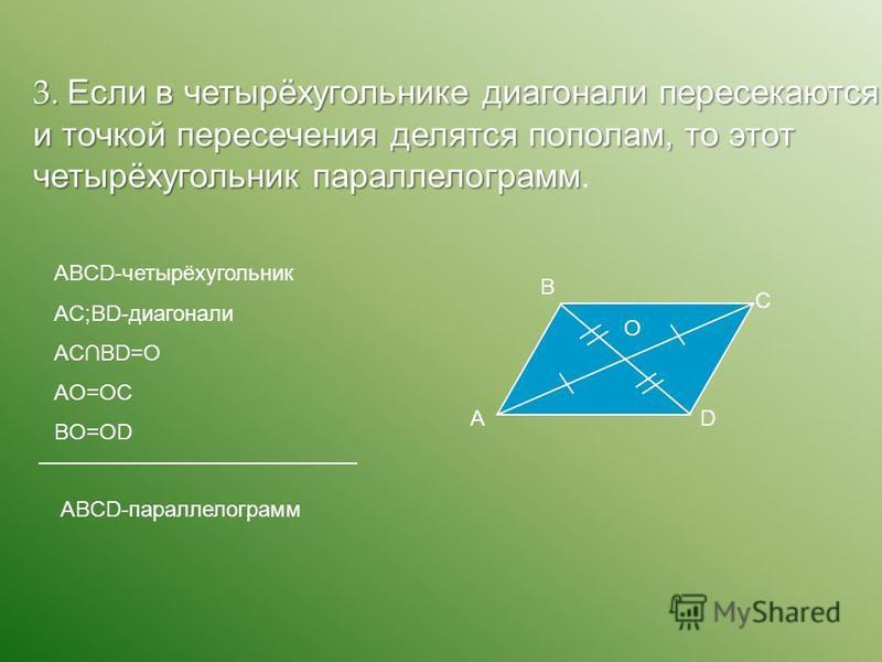 3. Если в четырёхугольнике диагонали пересекаются и точкой пересечения делятся пополам, то этот четырёхугольник параллелограмм 3. Если в четырёхугольнике диагонали пересекаются и точкой пересечения делятся пополам, то этот четырёхугольник параллелогр