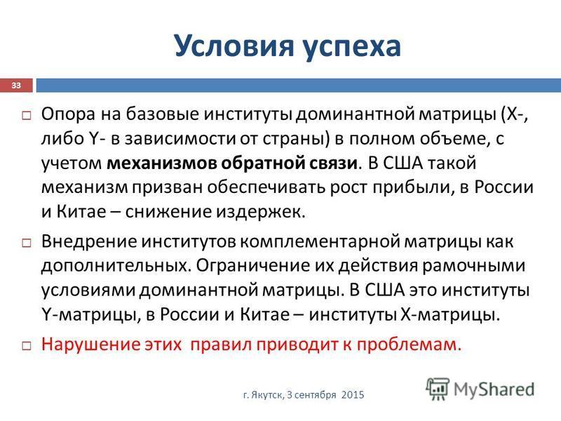 Условия успеха г. Якутск, 3 сентября 2015 33 Опора на базовые институты доминантной матрицы ( Х -, либо Y- в зависимости от страны ) в полном объеме, с учетом механизмов обратной связи. В США такой механизм призван обеспечивать рост прибыли, в России
