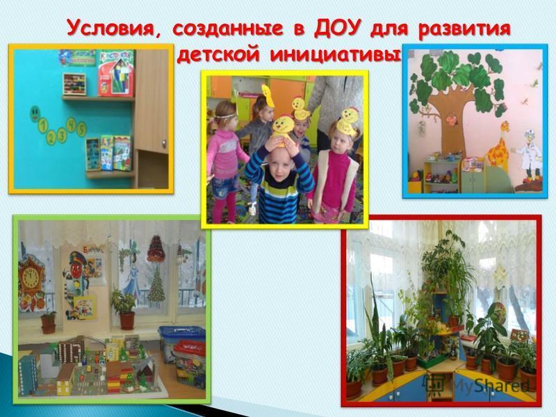 Условиясозданные в ДОУ для развития детской инициативы Условия, созданные в ДОУ для развития детской инициативы