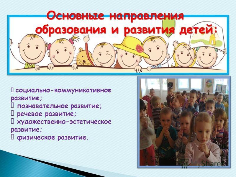 Основные направления образования и развития детей: Основные направления образования и развития детей: социально-коммуникативное развитие; познавательное развитие; речевое развитие; художественно-эстетическое развитие; физическое развитие.