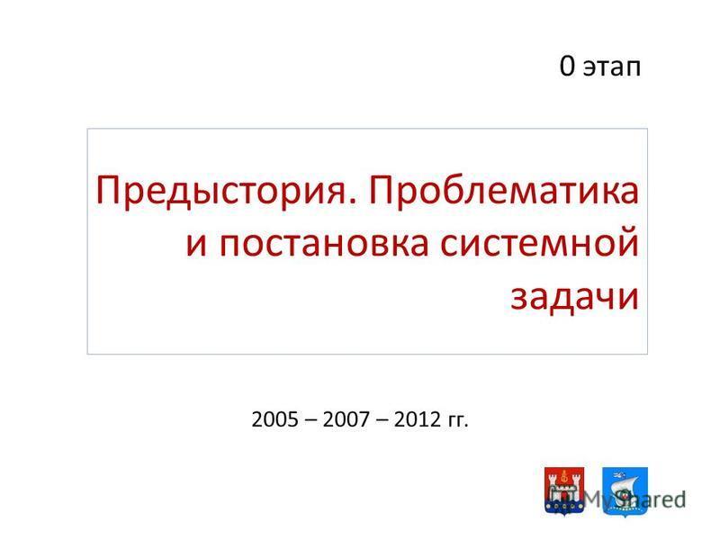 Предыстория. Проблематика и постановка системной задачи 2005 – 2007 – 2012 гг. 0 этап