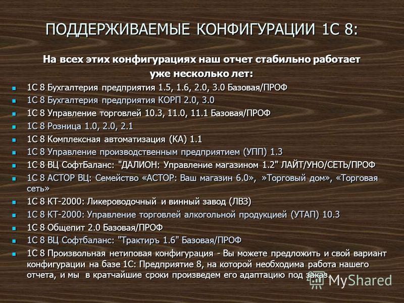 ПОДДЕРЖИВАЕМЫЕ КОНФИГУРАЦИИ 1С 8: На всех этих конфигурациях наш отчет стабильно работает уже несколько лет: 1С 8 Бухгалтерия предприятия 1.5, 1.6, 2.0, 3.0 Базовая/ПРОФ 1С 8 Бухгалтерия предприятия 1.5, 1.6, 2.0, 3.0 Базовая/ПРОФ 1С 8 Бухгалтерия пр