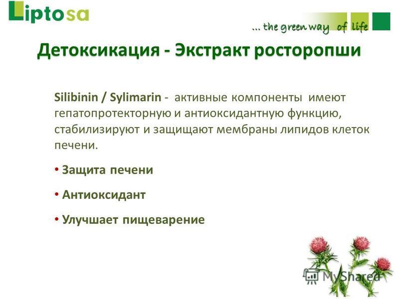 … the green way of life Silibinin / Sylimarin - активные компоненты имеют гепатопротекторную и антиоксидантную функцию, стабилизируют и защищают мембраны липидов клеток печени. Защита печени Антиоксидант Улучшает пищеварение Детоксикация - Экстракт р