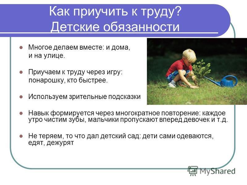 Как приучить к труду? Детские обязанности Многое делаем вместе: и дома, и на улице. Приучаем к труду через игру: понарошку, кто быстрее. Используем зрительные подсказки Навык формируется через многократное повторение: каждое утро чистим зубы, мальчик