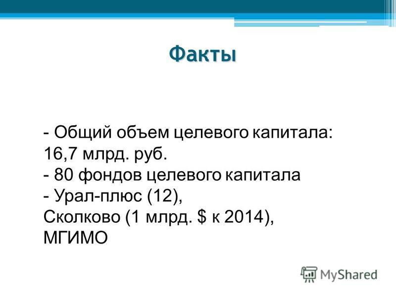 Факты - Общий объем целевого капитала: 16,7 млрд. руб. - 80 фондов целевого капитала - Урал-плюс (12), Сколково (1 млрд. $ к 2014), МГИМО