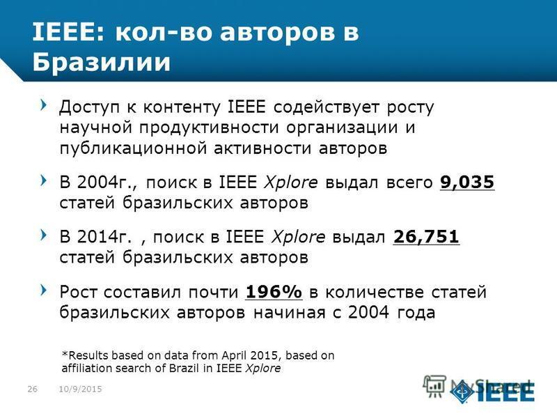 12-CRS-0106 REVISED 8 FEB 2013 IEEE: кол-во авторов в Бразилии Доступ к контенту IEEE содействует росту научной продуктивности организации и публикационной активности авторов В 2004 г., поиск в IEEE Xplore выдал всего 9,035 статей бразильских авторов
