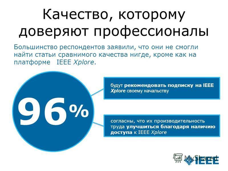 12-CRS-0106 12/12 Качество, которому доверяют профессионалы 96 % будут рекомендовать подписку на IEEE Xplore своему начальству согласны, что их производительность труда улучшиться благодаря наличию доступа к IEEE Xplore Большинство респондентов заяви